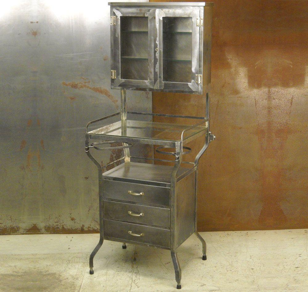 Antique Metal Dental Cabinet Vintage Dentist Cabinet Rehabbed By Conant Metal Light