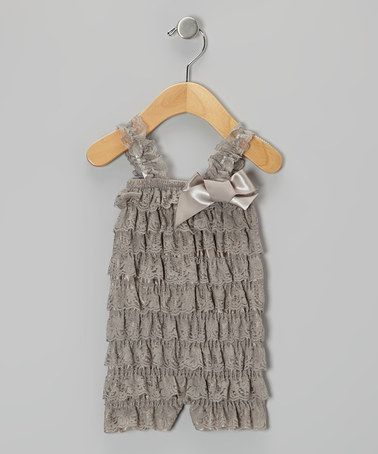 Take a look at this Gray Lace Romper - Infant & Toddler by Just For Girls on #zulily today!
