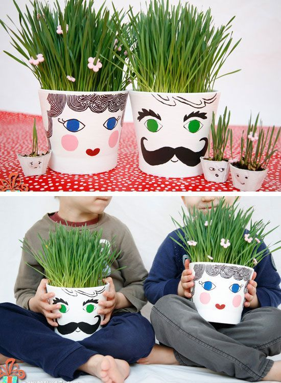 Easy to Make Grass Head Pots   Easy to Make Mothers Day Gifts from Kids