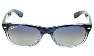 3798ac12f5f Ray Ban New Wayfarer RB2132 822 78 in Blue Gradient on Transparent  Crystal Polarized Blue Grey Review