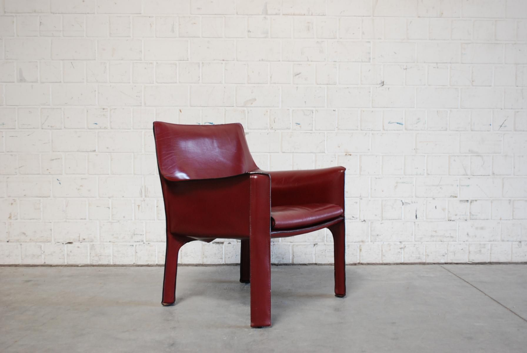 Bordeaux Red Cab 414 Lounge Chair By Mario Bellini For Cassina