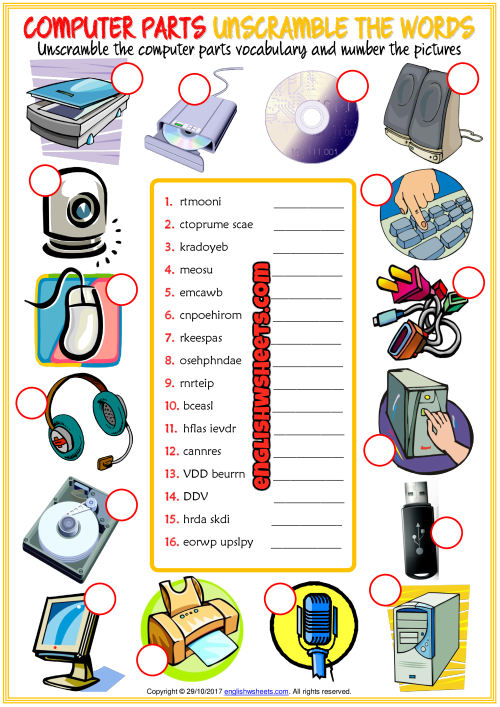 Computer Parts Unscramble The Words Esl Worksheet Game 39 S