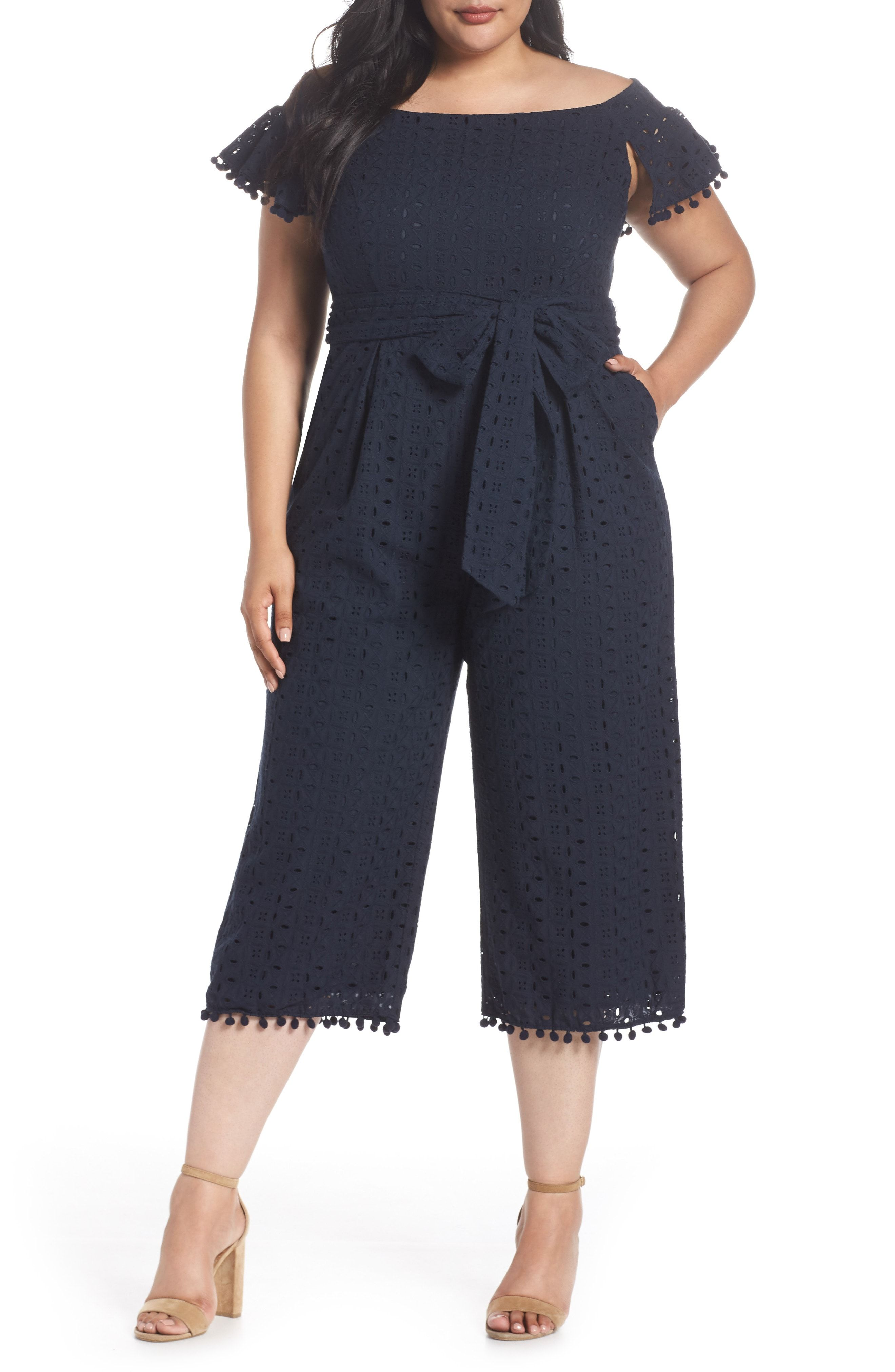 e3c11a4ef46 Buy Chelsea28 Off the Shoulder Pom Trim Eyelet Jumpsuit online. Sku  lezs72086pgqg42685