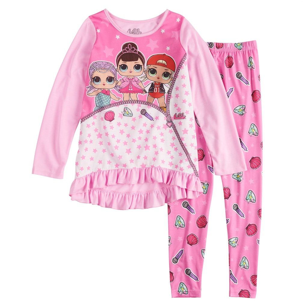 6feea39a3c1 Girls 4-10 L.O.L. Surprise! Tunic Top   Bottoms Pajama Set ...