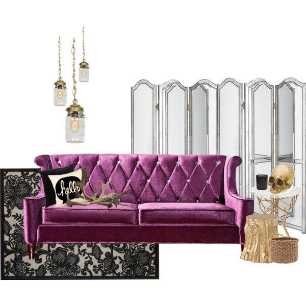 Purple Crushed Velvet Diamond Tufted Sofa