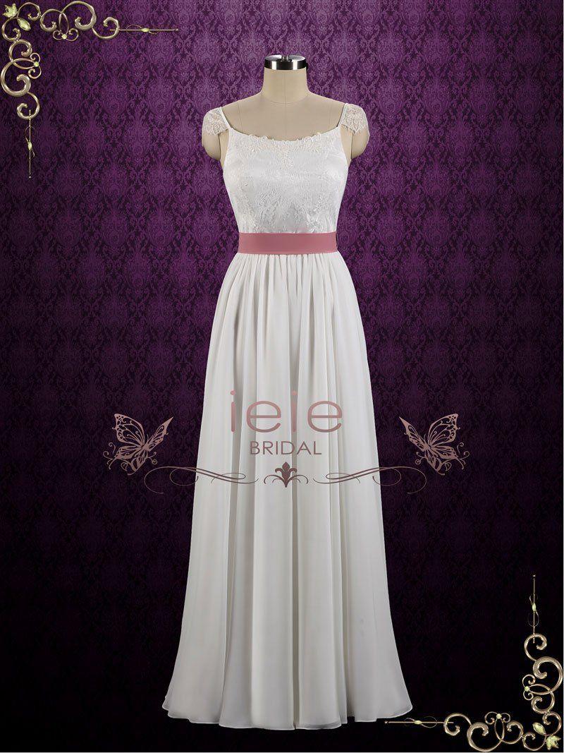 Simple boho chiffon lace destination beach wedding dress holly