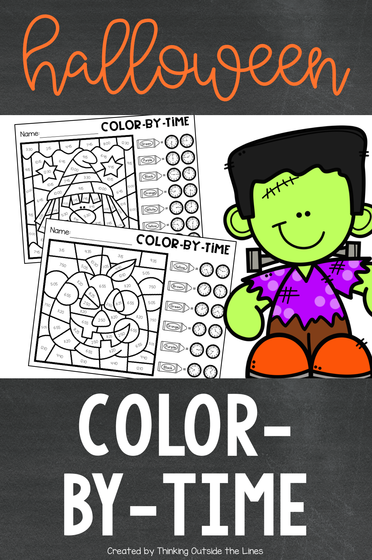 Halloween Color By Time Time Worksheets