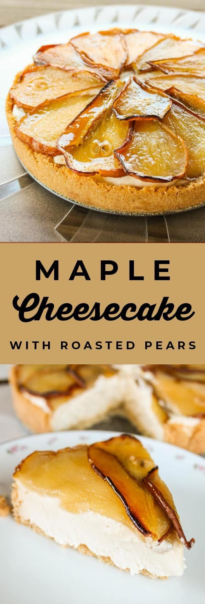 Maple Cheesecake with Roasted Pears from The Food Charlatan. This No Bake Maple Cheesecake with Roasted Pears is one of my favorite cheesecakes! It is so easy to make but feels super fancy. It is the perfect fall dessert for Thanksgiving, Christmas, or New Year's Eve! The maple and pear flavors were made for each other. #nobake #cheesecake #maple #pears #roasted #easy #recipe #dessert #creamcheese #cheesecakedessertseasy