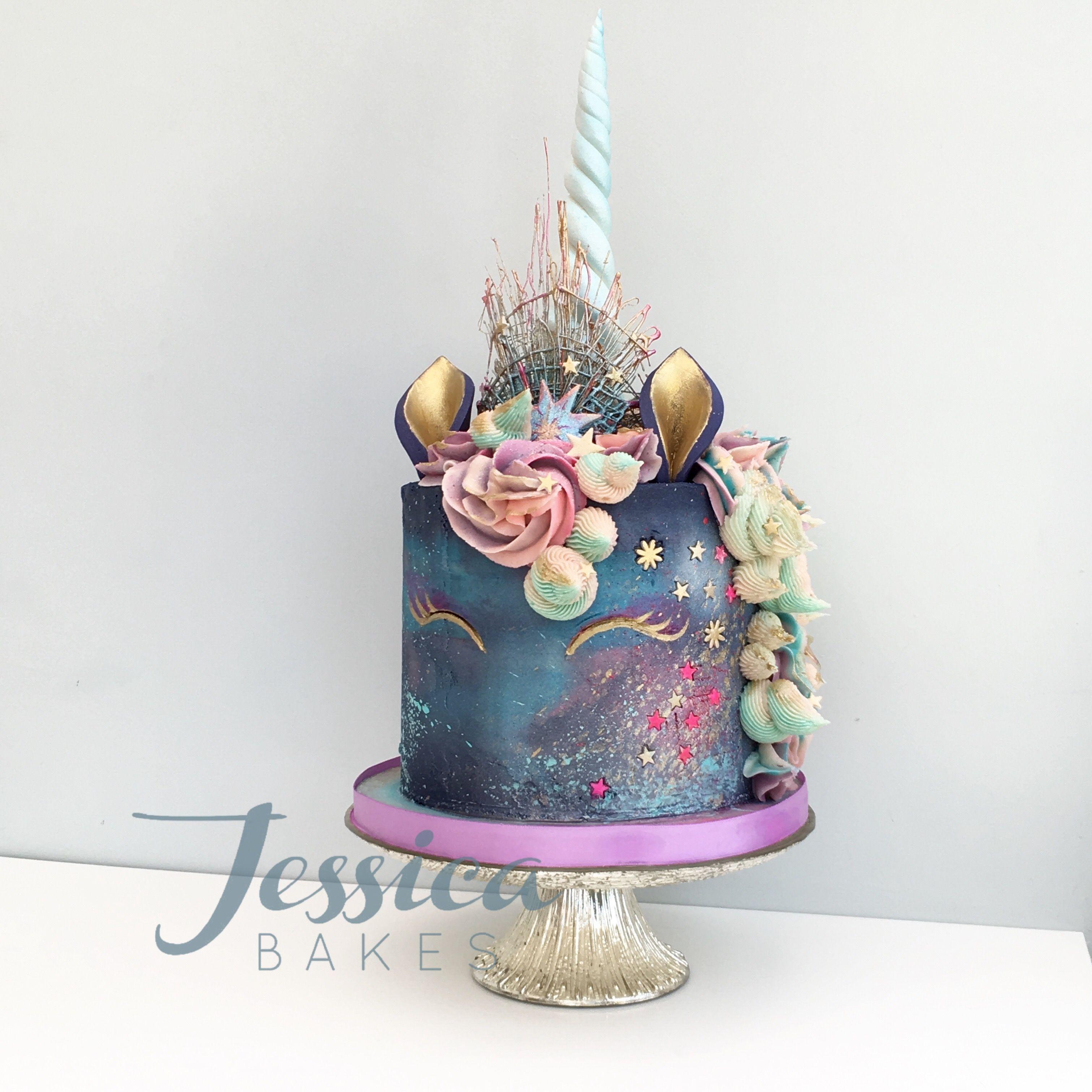Galaxy Unicorn Cake By Jessica Bakes Based In Birmingham West Midlands UK Jessicabakescouk