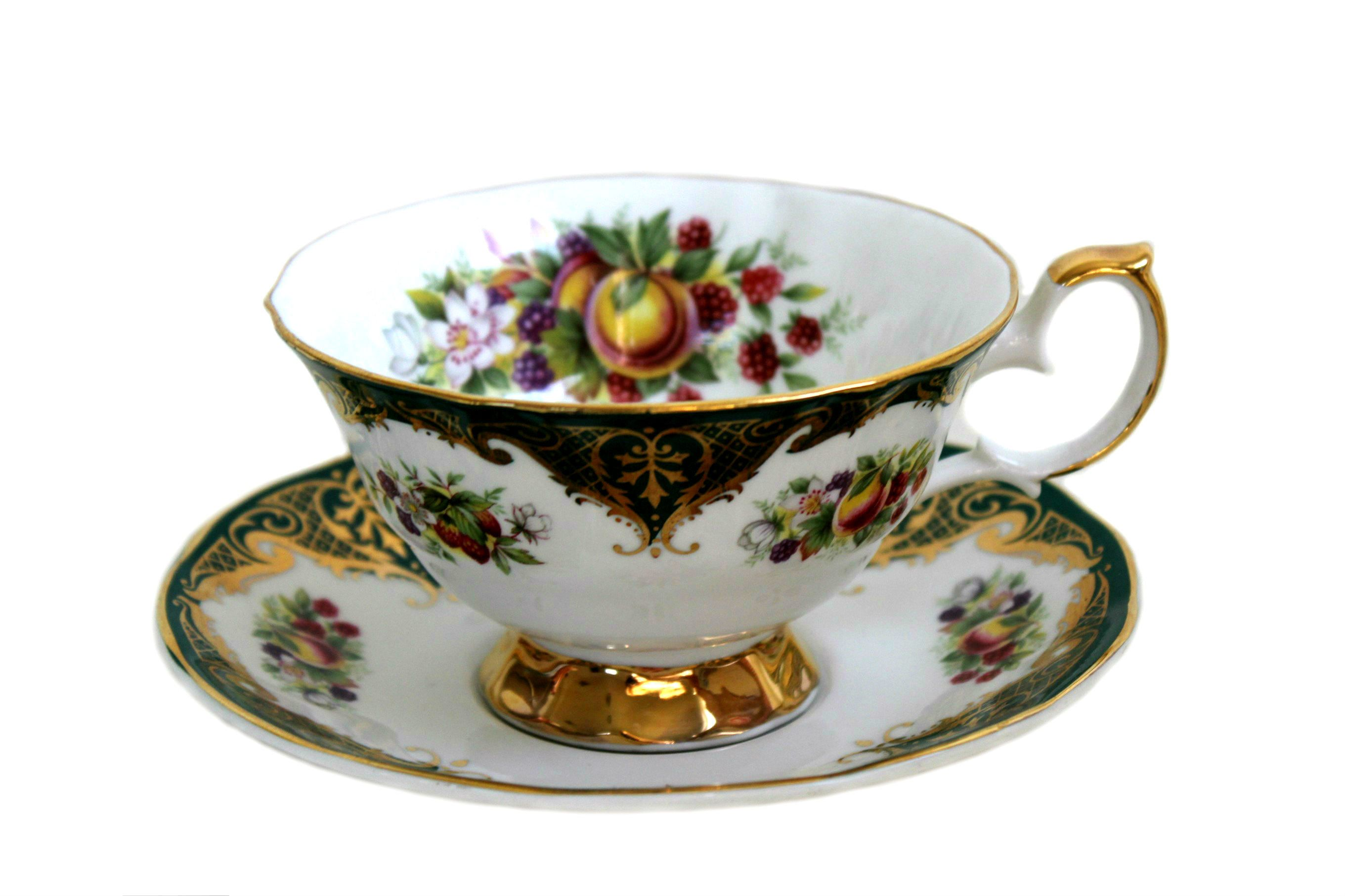 Elizabethan staffordshire teacup and saucer green gold