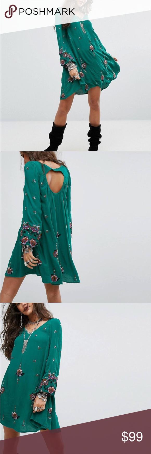 199db81814 Free People Oxford Embroidered Mini Dress Green NWT