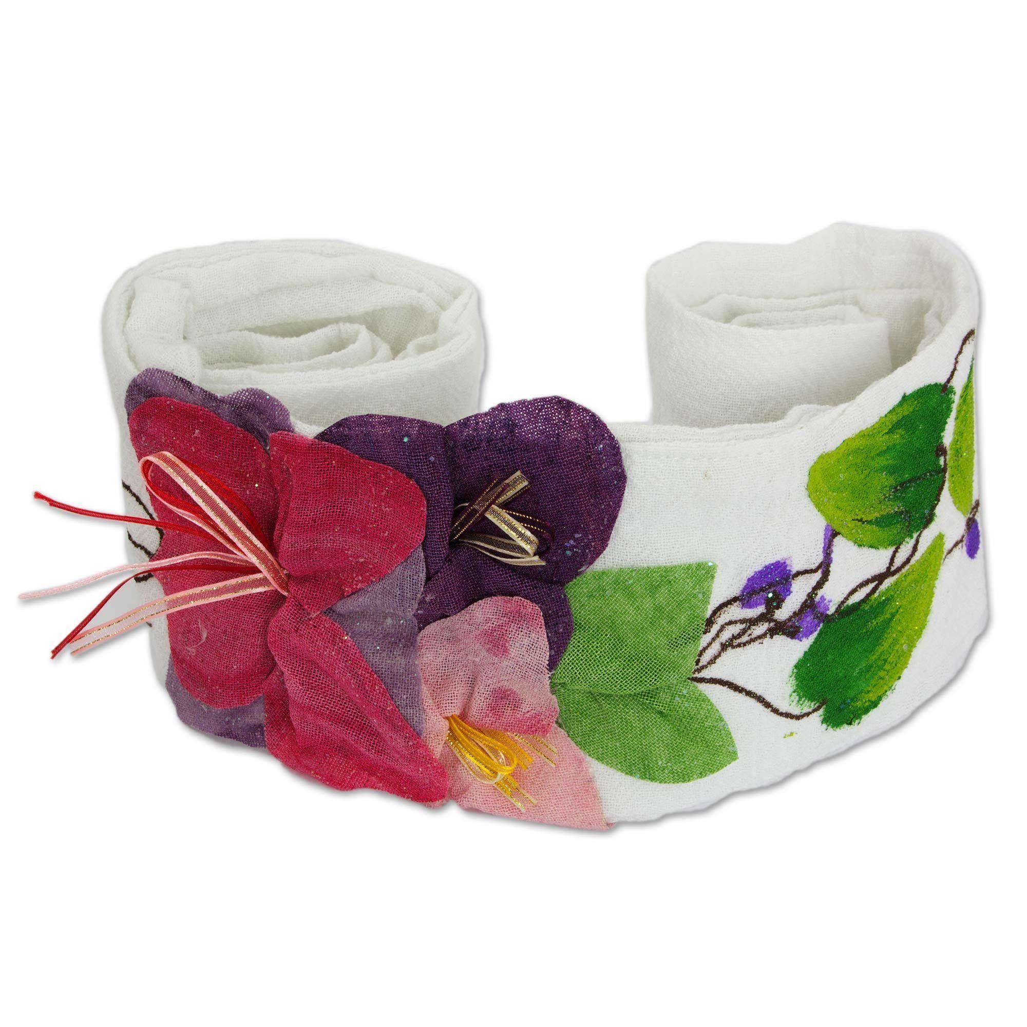 Novica Handcrafted 'Petals on White' Sash