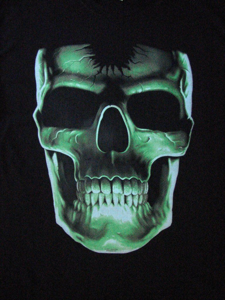 Glow In The Dark Large Skull Short Sleeve T Shirt Small Black