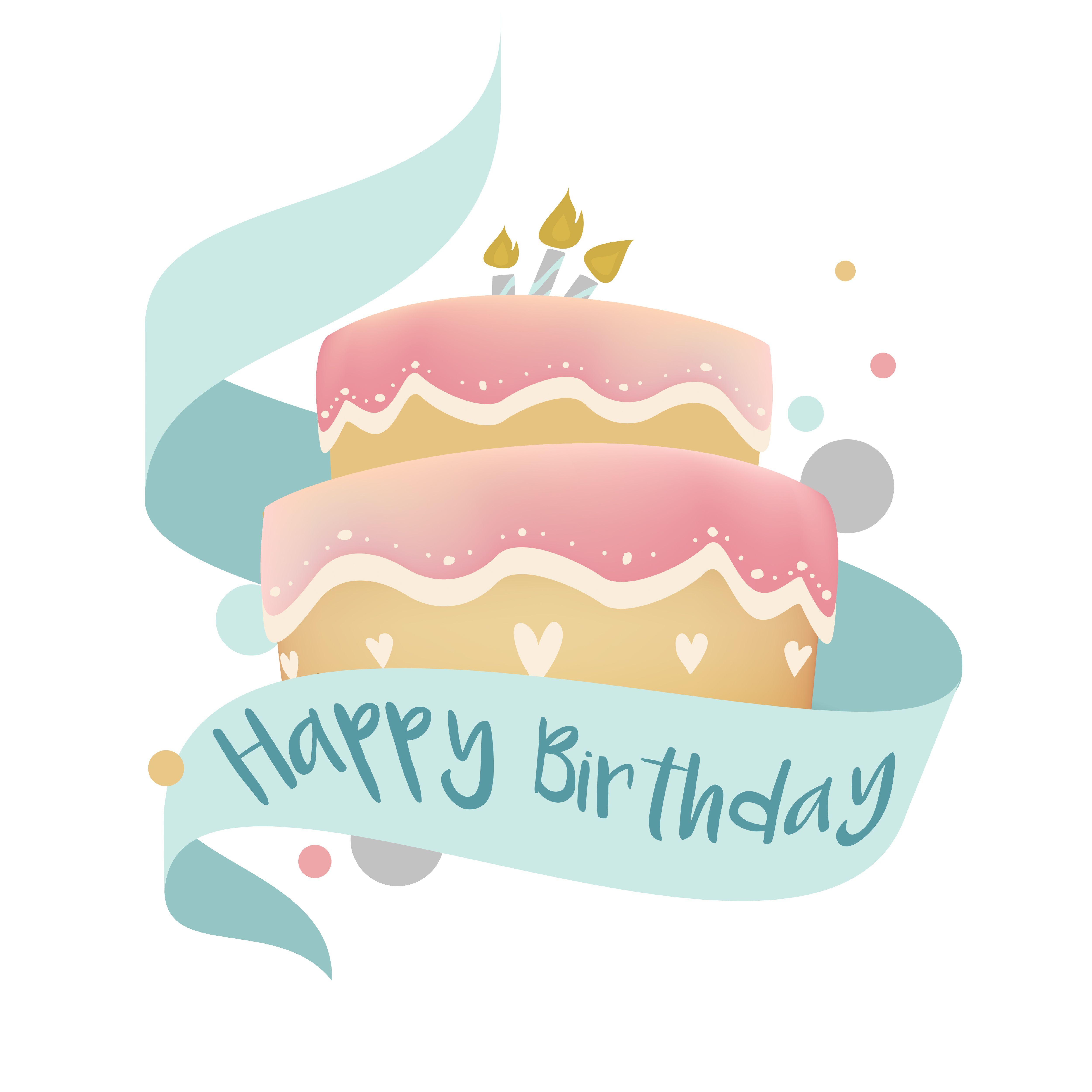 Happy Birthday Cake Design Vector Happy Birthday Illustration Happy Birthday Card Design Birthday Cake Illustration