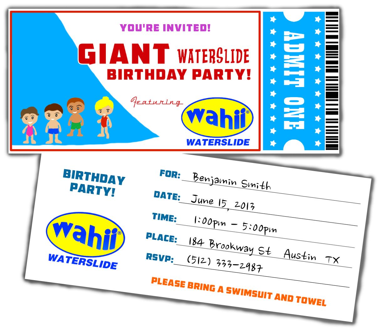 free water slide birthday invitation kids toys pinterest
