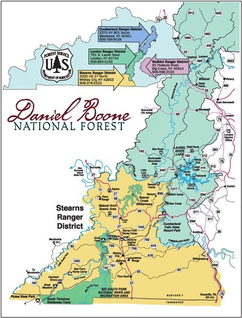 Map Of Daniel Boone National Forest In Kentucky Daniel Boone National Forest Kentucky Travel Kentucky Attractions