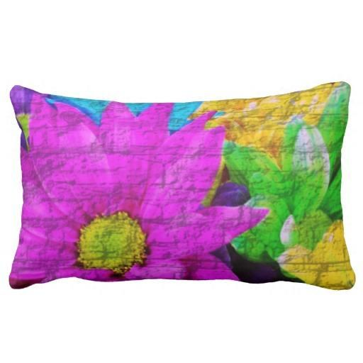 Colorful pillow with flowers
