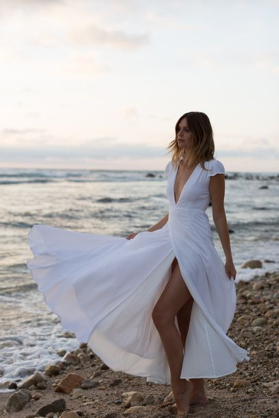 9c2d96f85af52 Low Plunge V-Neck White Beach Inspired Maxi Dress With Slit Beautiful  Summer Spring Fashion Trend