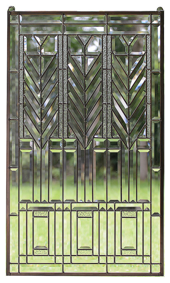 Frank Lloyd Wright Tree Of Life Beveled All Clear Stained Glass Panel Traditional Stained Glass Panels Traditional Stained Glass Panels Stained Glass Panel