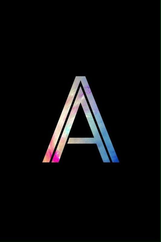 Black & rainbow galaxy letter/single initial