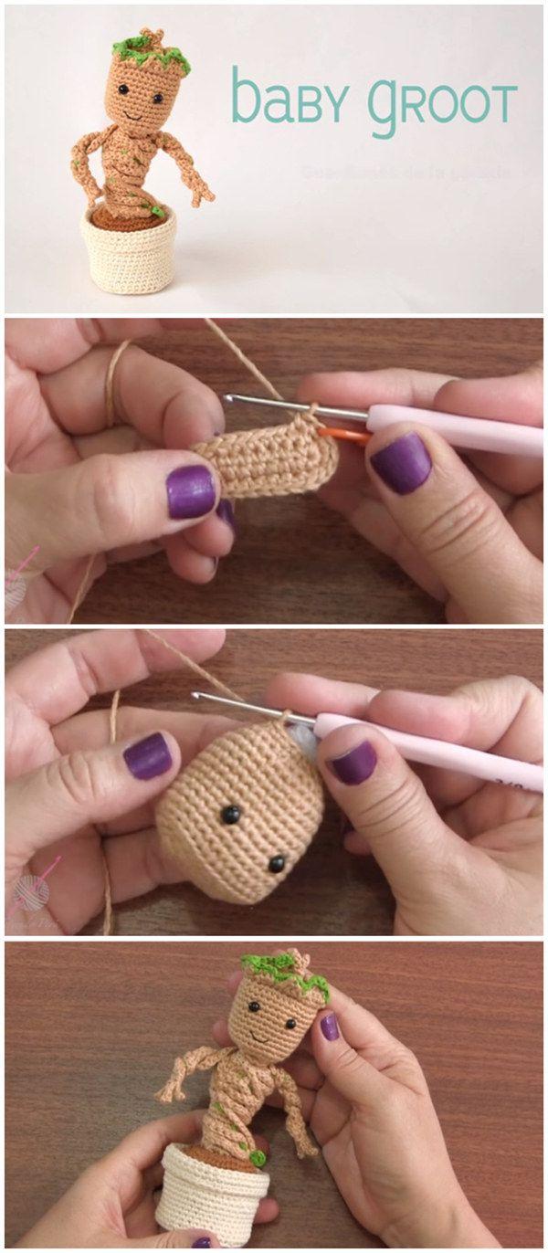 Crochet Baby Groot With Pot Amigurumi Tutorial