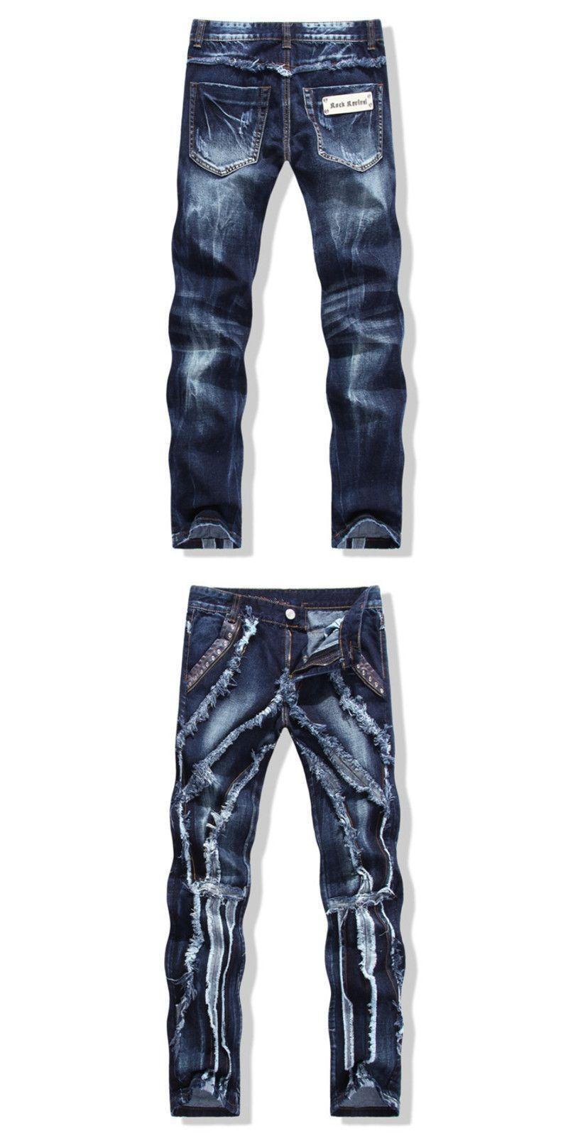 d0ef122387d European American Style NEW Men s jeans slim denim trousers biker men jeans  luxury ripped Straight blue punk slim jeans for men  slimjeansformen