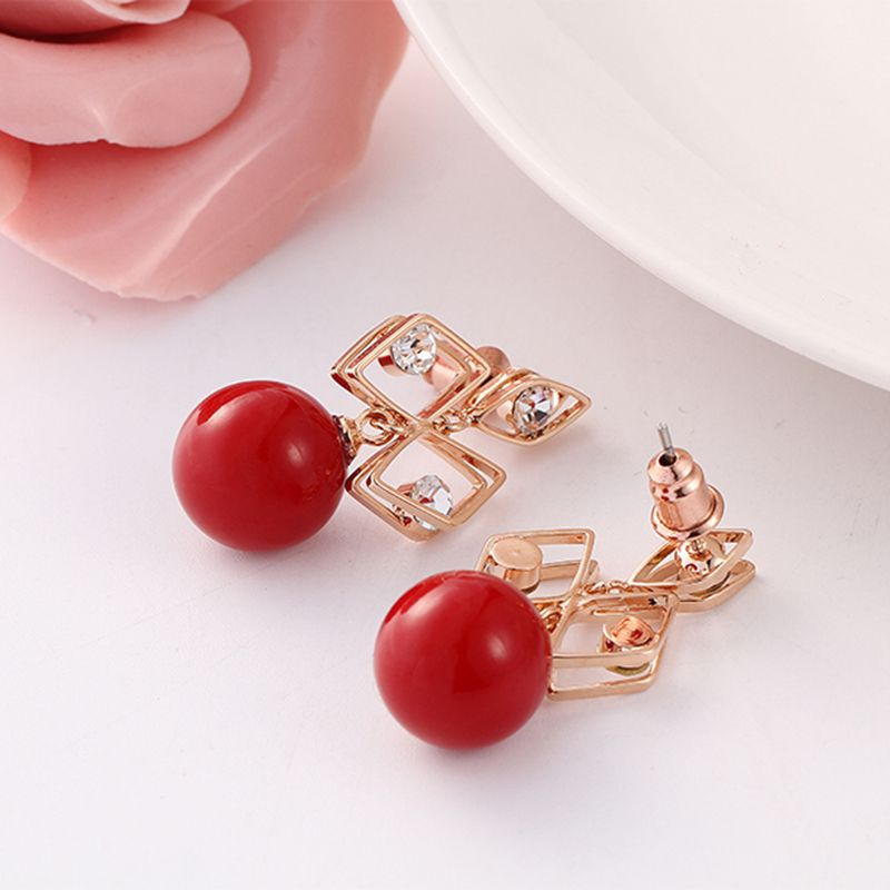 High Quality  Rose Gold-Color Drop Earrings For Women Fashion Wedding Red Simulated Pearl Jewelry Earings(E0524A)