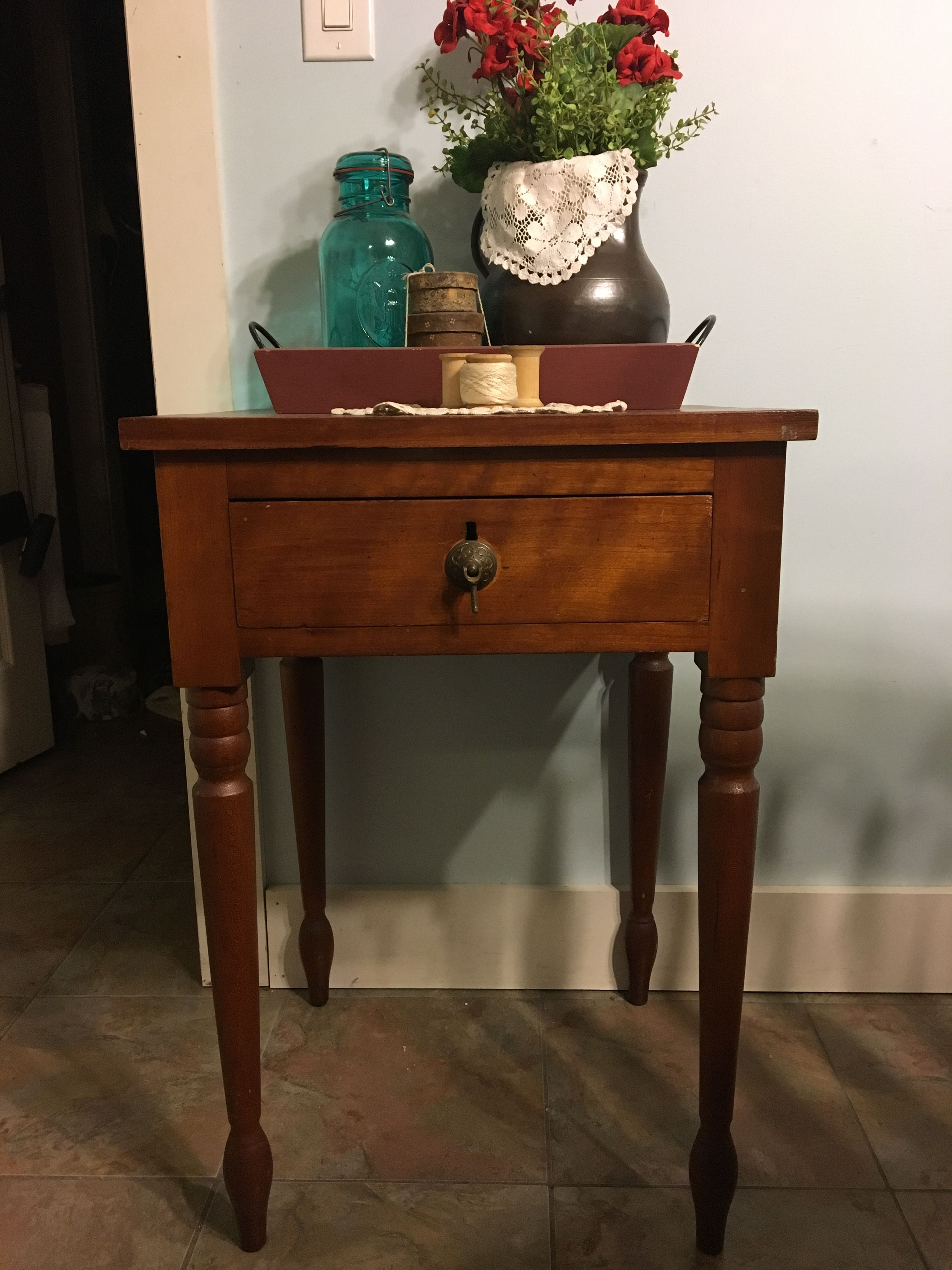 Beautiful farmhouse side table! For sale at Old Farmhouse