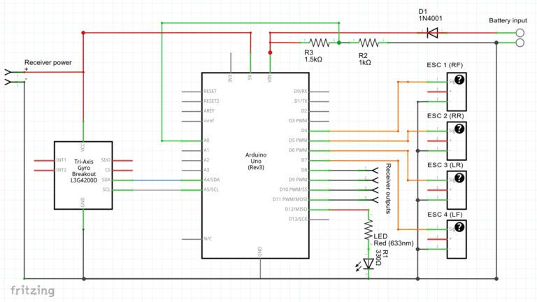 Build Arduino Quadcopter With Complete Source Code And Circuit Diagram Arduino Quadcopter Circuit Diagram Arduino