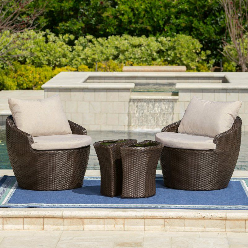 Costa Rica Wicker 3 Piece Outdoor Chat Set Patio Furniture Sets Outdoor Furniture