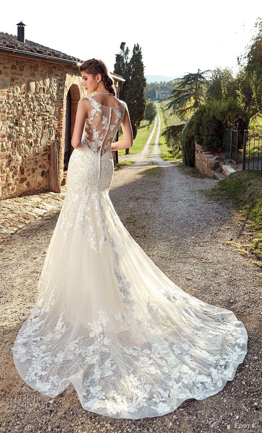 eddy k 2019 ek sleeveless drop waist a line wedding dress sheer lace button  back chapel train (24) bv mv -- Eddy K. 2019 Wedding Dresses 8dc05c8b703b