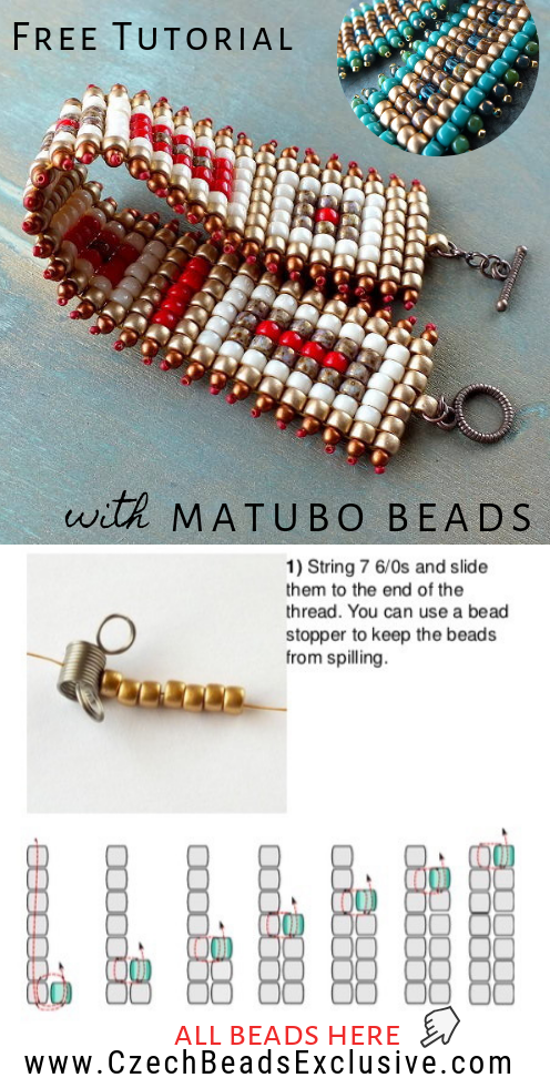How to Make Square Stitch Beaded Bracelet with Matubo Seed Beads - Easy Tutorial |SAVE it!| www.CzechBeadsExclusive.com #czechbeadsexcluisve #czechbeads