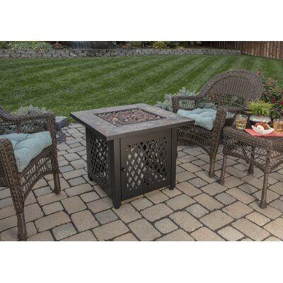 "Endless Summer Steel Propane Fire Pit Table, Steel in Bronze, Size 24""H X 30""W X 30""D   Wayfair"