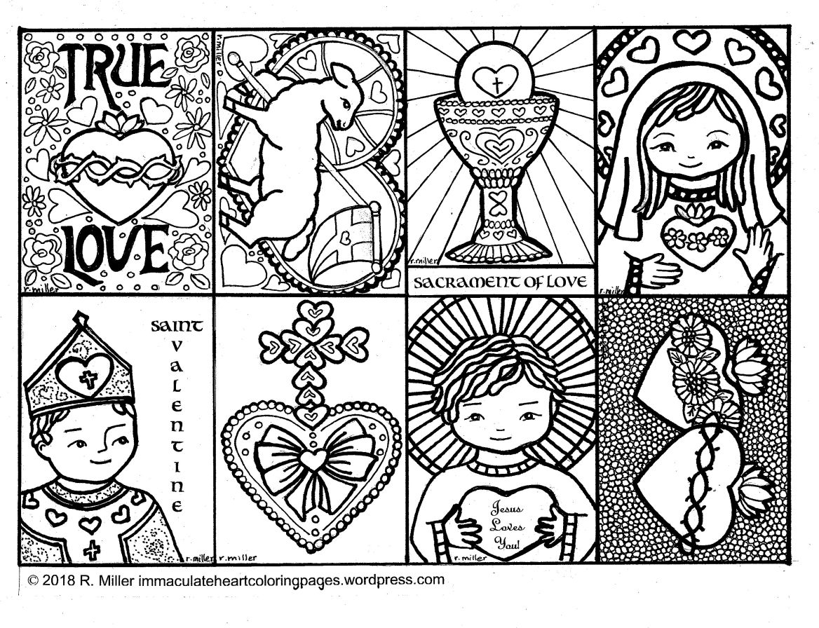 Eight Valentines To Color Valentine Coloring Pages Preschool