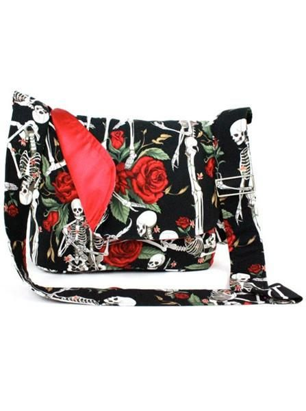 """Skeleton And Roses"" Messenger Bag By Hemet (Black)"