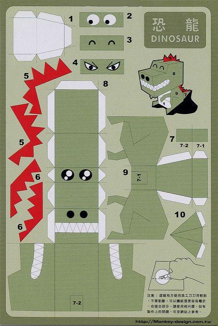 3d Papercraft Postcard Dinosaur Valentines Pinterest