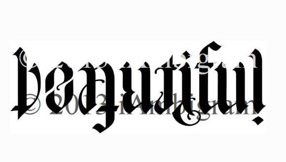 beautiful imperfect ambigram tattoo idea. Black Bedroom Furniture Sets. Home Design Ideas