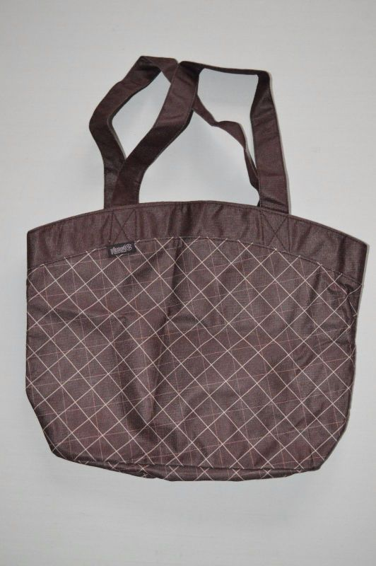 Planet E Eco Stream Re Useable Ping Totes Shoulder Bags Pink Brwn Plaid Nwot Planete