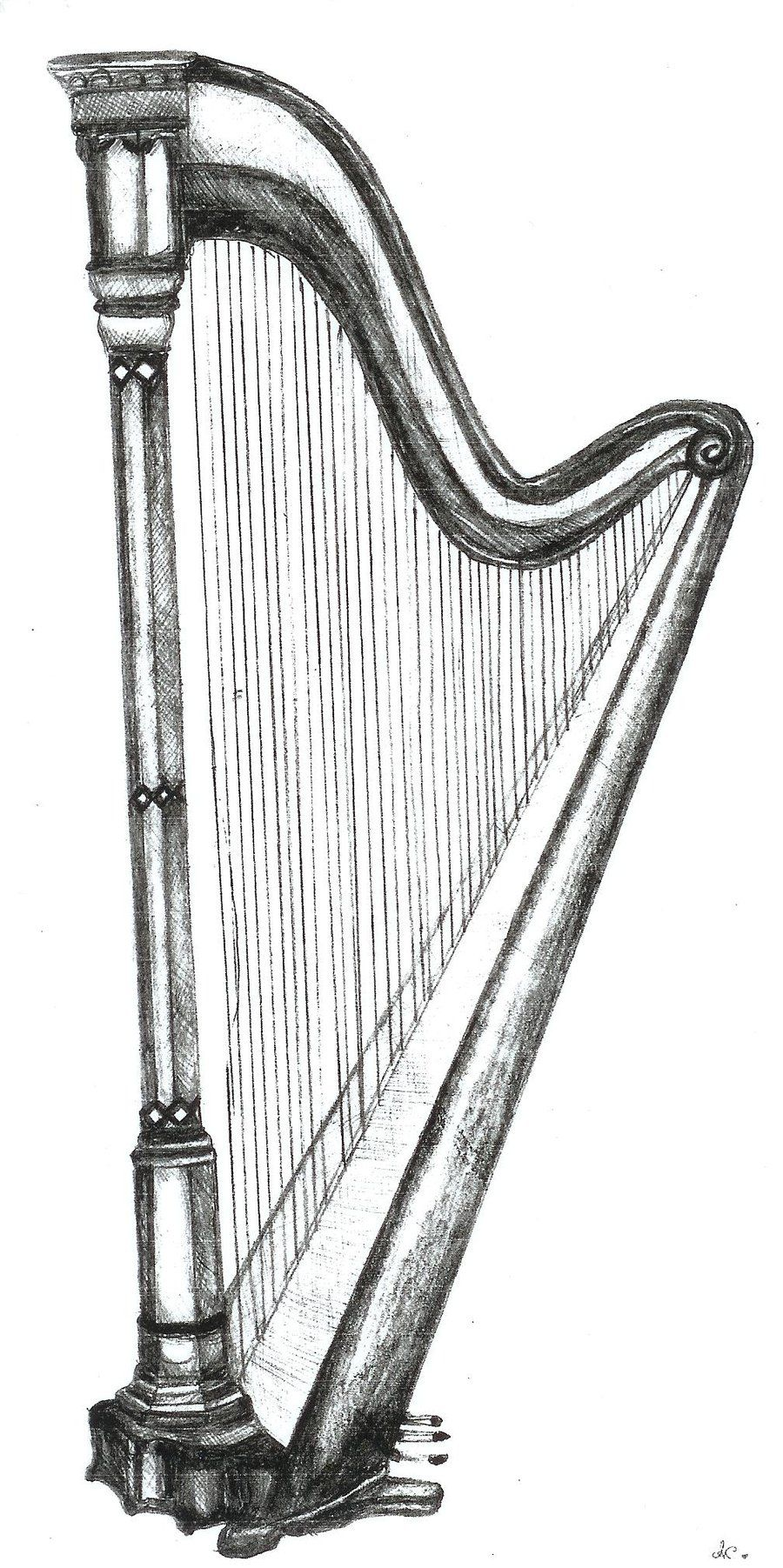 Pencil drawings harp pencil drawing by koumirien on deviantart irish musical instruments musical