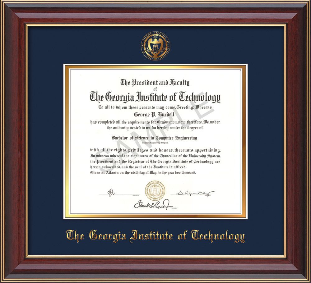 Georgia Tech Diploma Frame - Cherry Lacquer - w/Embossed Seal & Name ...