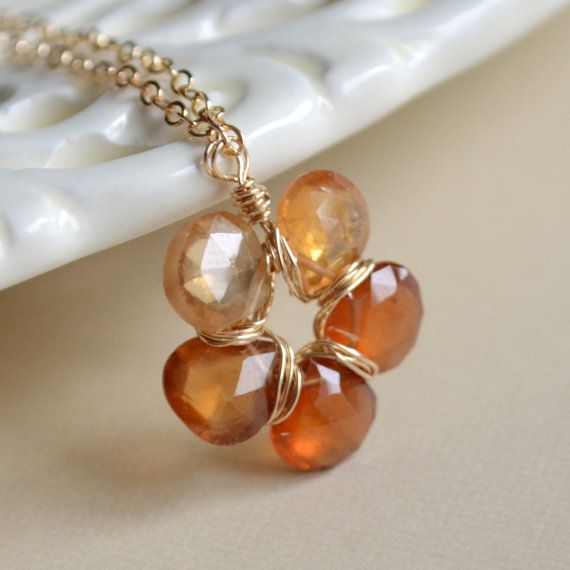 NEW Hessonite Garnet Necklace Autumn Jewelry Burnt by livjewellery, $75.00