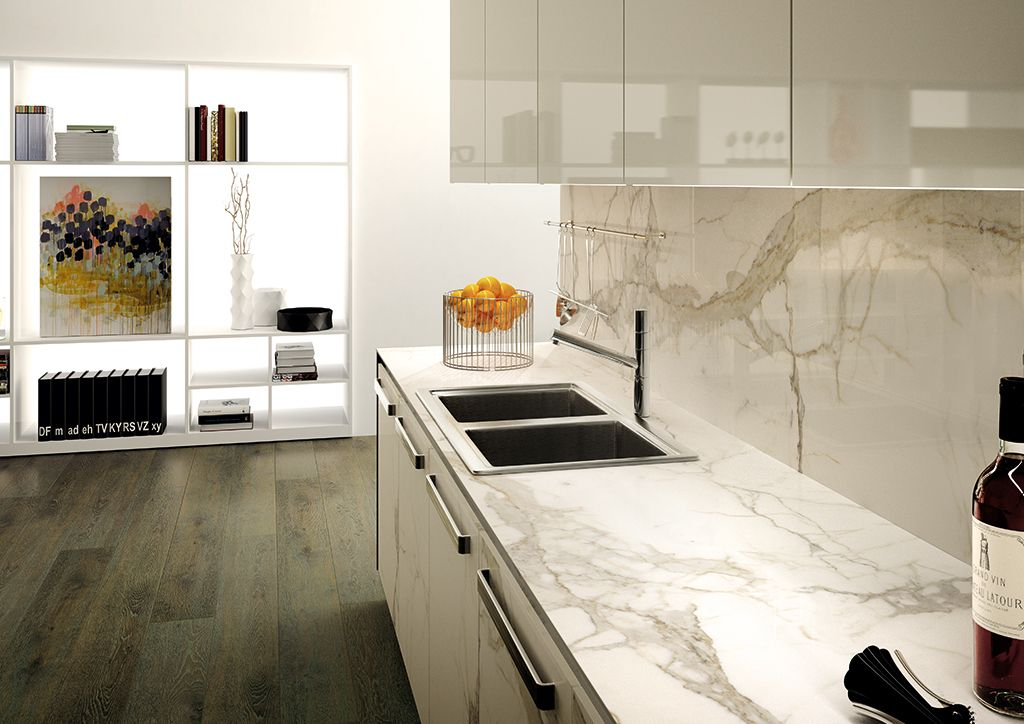 Calacatta thinslab porcelain marble look slabs for Porcelain countertops cost