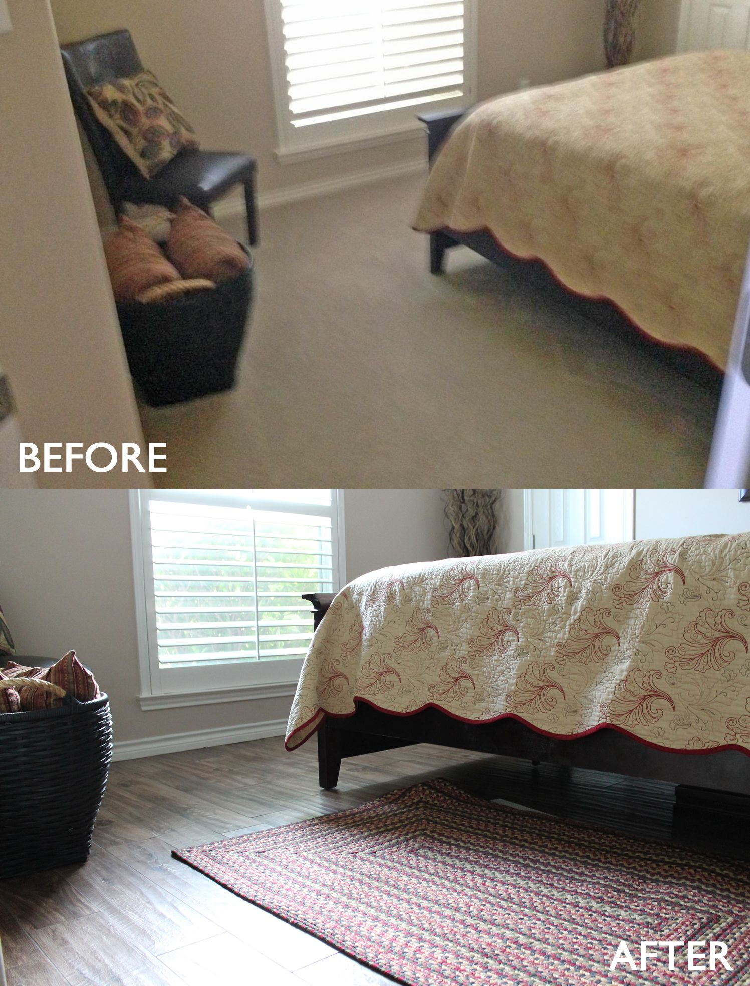Bedroom remodel before and after. Carpet to wood look # ...