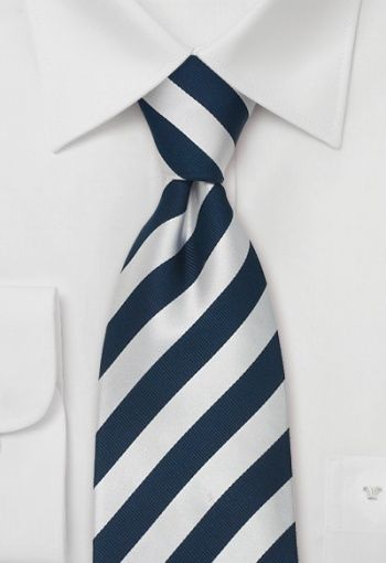 c63aebd16 XL Striped Tie in Navy Silver - A perfect tie for anyone that appreciates  the classy