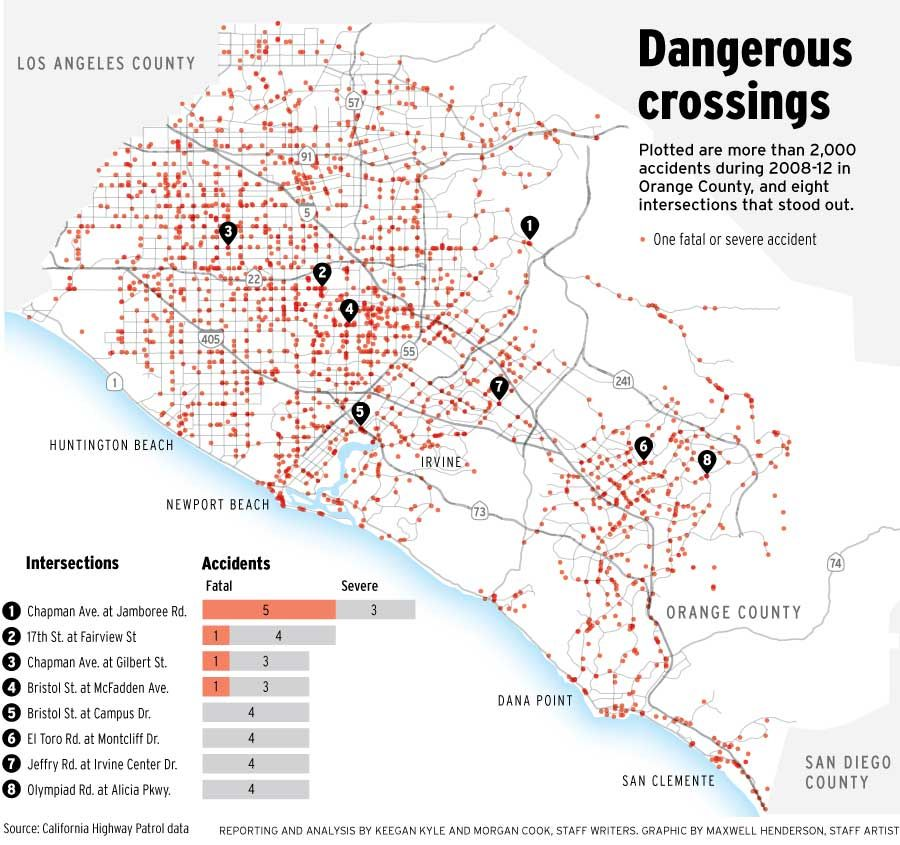 Do you know where O.C's 8 most dangerous intersections are? | Crime Orange County Traffic Map on