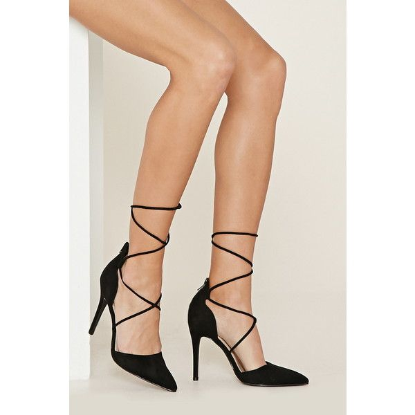 Forever 21 Women's  Lace-Up Pointed Pumps ($30) ❤ liked on Polyvore featuring shoes, pumps, high heel shoes, pointed-toe pumps, pointy toe shoes, pointed toe shoes and lace up stilettos