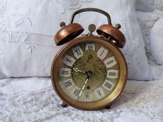 Antique alarm clock retro French Japy bell alarm clock vintage mechanical movement, desk clock, nightstand clock, working order clock