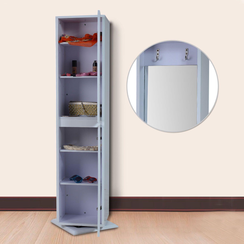 White Rotating Swivel Storage Cabinet Adjule Shelves Closet Bathroom Kitchen Laundry Cupboard