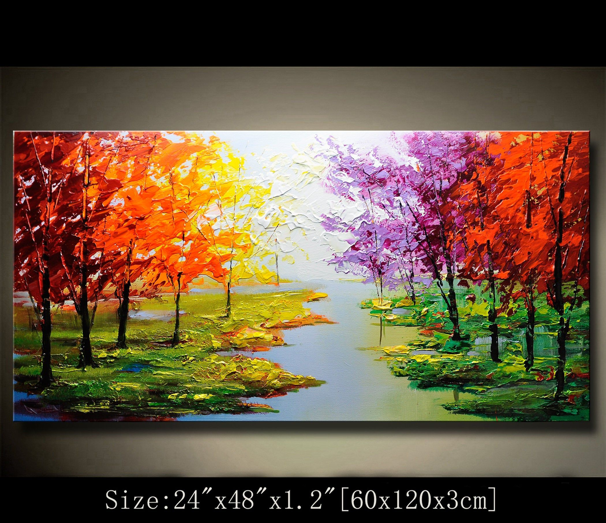 Contemporary Wall Art Modern Textured Painting Colorful Landscape Modern Palette Knife Painting Painting On Canvas Chen 20321 In 2020 Modern Landscape Painting Texture Painting On Canvas Abstract Wall Painting