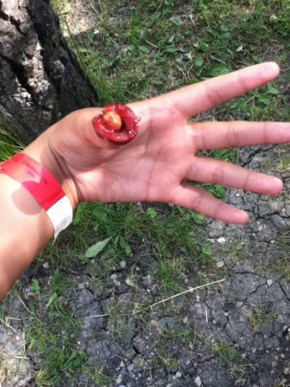 "My cousin ran up to me today and told me that he had cut his thumb off. What I didn't know was that his ""cut"" was really a cherry."